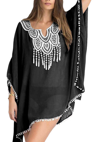 Kimono sleeve Sheer cover up Women Black Chiffon Tunic with Embroidery