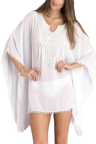 Kimono sleeve Sheer cover up Women White Chiffon Tunic with Embroidery
