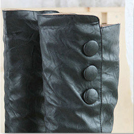 Knee-High Round Toe Button PU Casual High Heel Sexy Boots  Shoes MOD SERIES