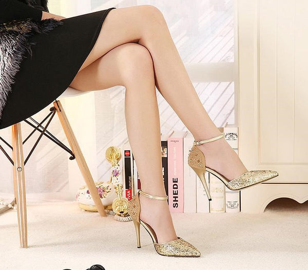 "Leopard High Heels Sexy Women Pumps Pointed Toe Rivet Rhinestone Shoes ""Trendy Series"""