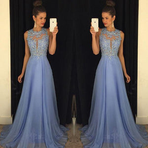 HerFashion Chic Prom Dresses Lace Applique Beads