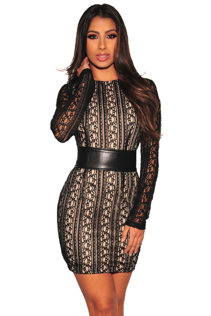 Long Sleeve Sheer Lace Corset Belted Bodycon Mini Evening