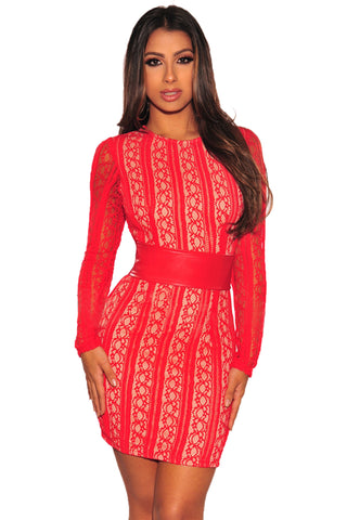 Lace Bodycon Fit Nude Impression Corset Belted Women Red Mini Dress