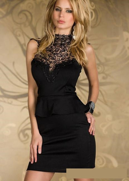 Lace Mosaic Sleeveless Modern High Neck Mini Dress