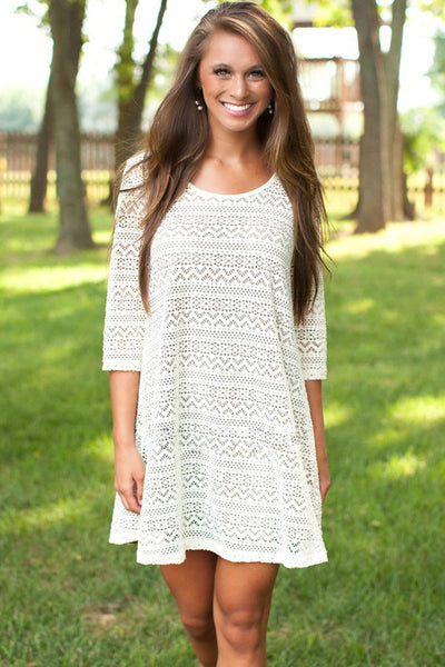 Lace Sleeved Swing Sheer Dress 3/4 Sleeves White Dress