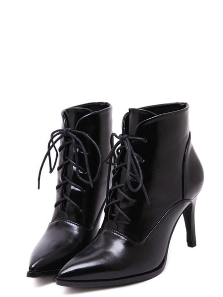 HisandHerFashion Lace Up Solid Color Chic Sexy Point Toe Slim Heel Boots