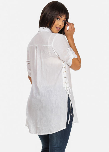 Lace up Classic style White Button up Tunic Shirt