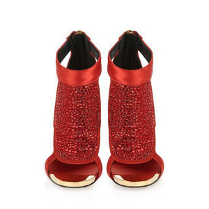 Ladies Fashion Brand Shoe Sexy Rhinestone Ankle Boot Sandals High Heels Peep Toe