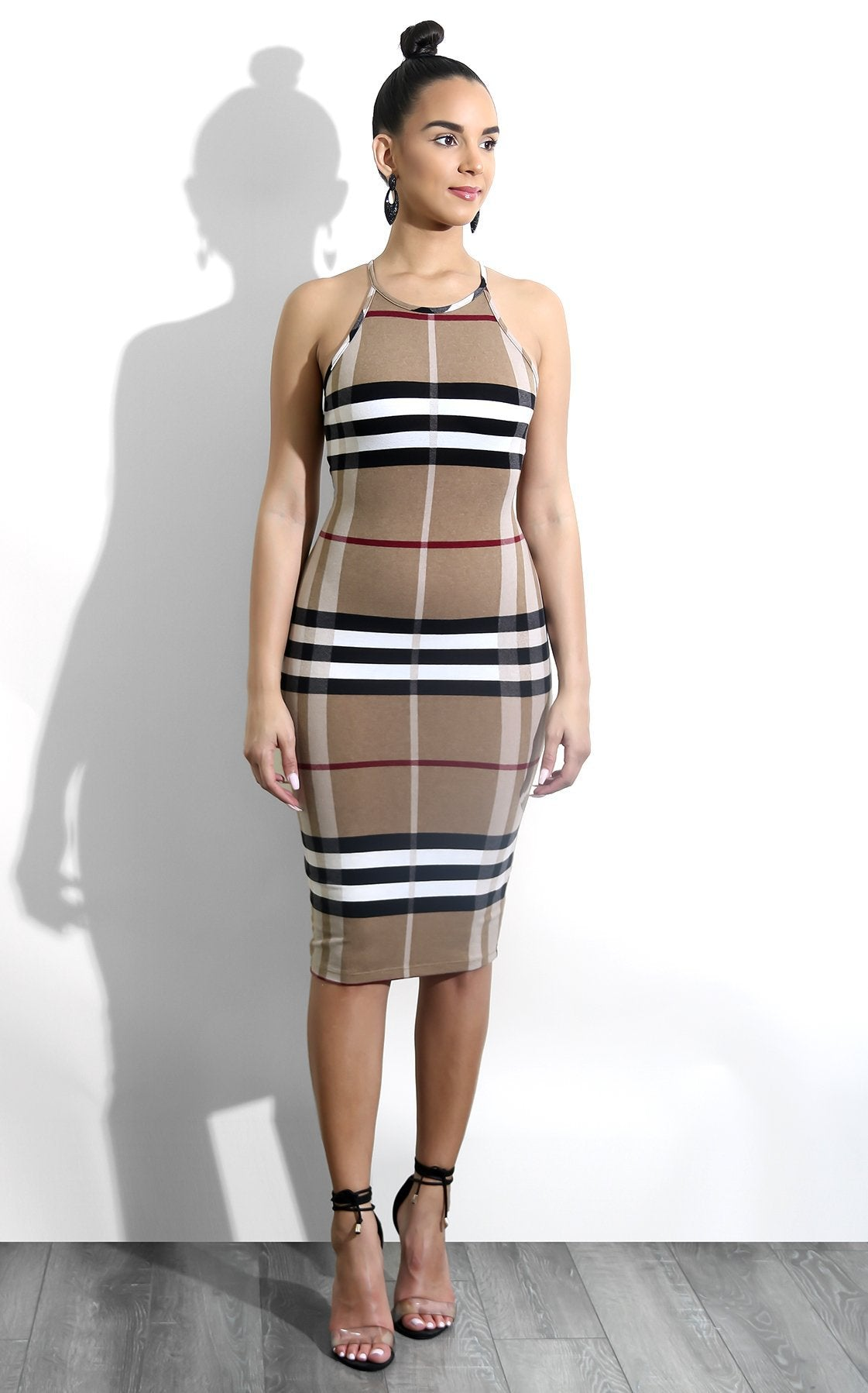 Lavish Grids Plaid Style Sleeveless Her Fashion Bodycon Party Dress