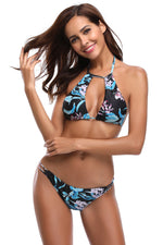 Leafy Floral Print Front Cutout Halter Her Fashion Bathing Suit