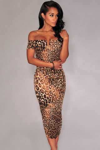Leopard Print Off-The-Shoulder V Strapless Neckline Midi Dress
