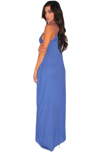 Cool Sleeveless Light Blue Loose Fit Maxi Dress