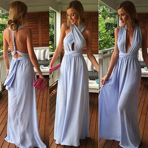 Light Blue Trendy Criss Cross Bodice Maxi Dress