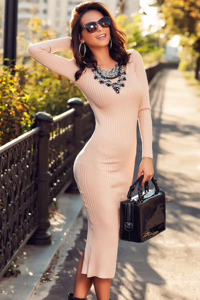 Light Pink Ribbed Bodycon Long Sleeve Back Midi Dress Sweater Dress