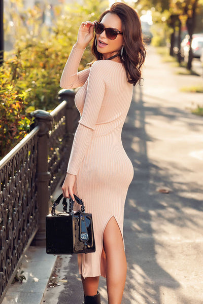 088933573e66 Pink Ribbed Bodycon Long Sleeve Sweater Midi Dress ...