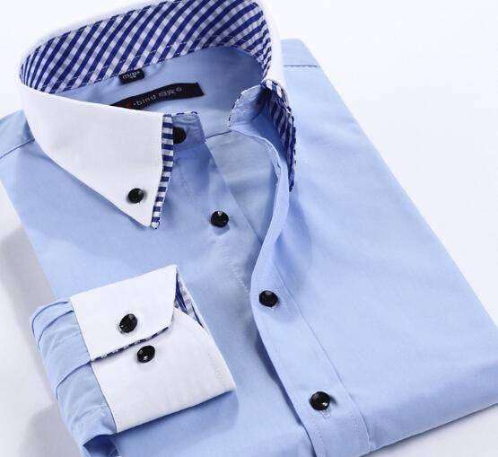 HisandHerFashion Blue Long-Sleeved 100% Cotton Contrast Collar Chic Men Shirt