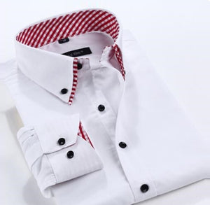 Long-Sleeved 100% Cotton Contrast Collar Chic Men Shirt