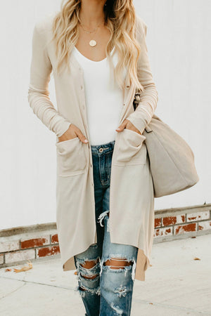M XL 2XL L NEW BUTTON DOWN BEIGE HIGH-LOW FITTED CARDIGAN SIZE S