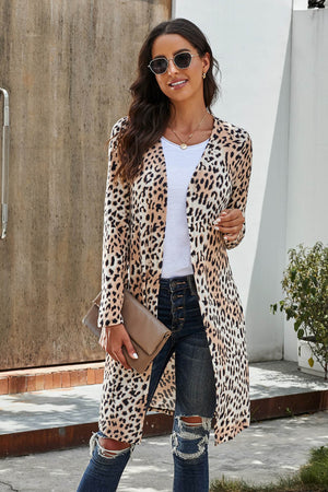 Long Sleeves Jacket Open Front Black Leopard Print Long Cardigan
