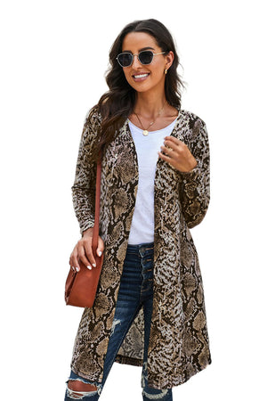Long Sleeves Jacket Open Front Brown Leopard Print Long Cardigan