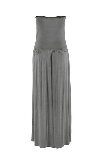 Long Skirt Grey Sundress Her Fashion Strapless Bodice Maxi Dress