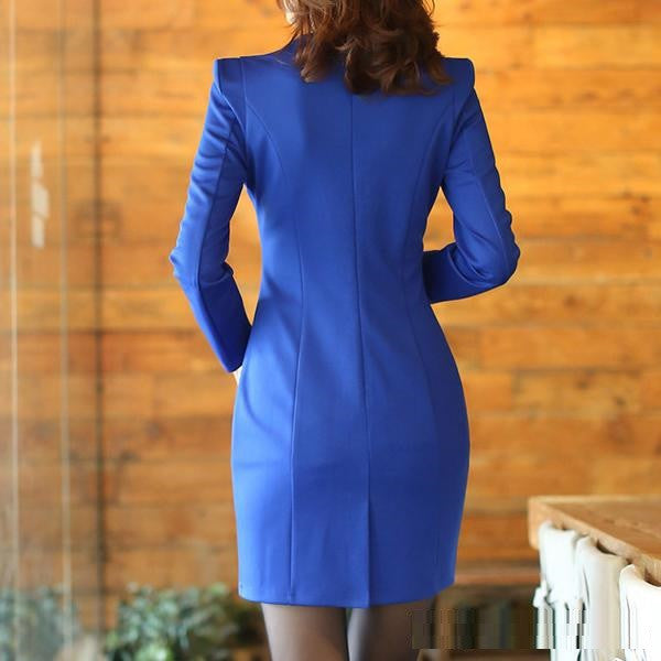 Long Sleeve Elegant Slim fit Modern Business Dress 2015 New Arrival (Without Belt)