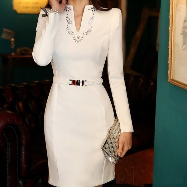 Long Sleeve Elegant Slim fit Modern Business Dress 2015 New Arrival (Without Bel