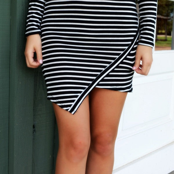 "Long Sleeve Slim  Wide Ruffle Striped Mini Dress ""Chic Series"""