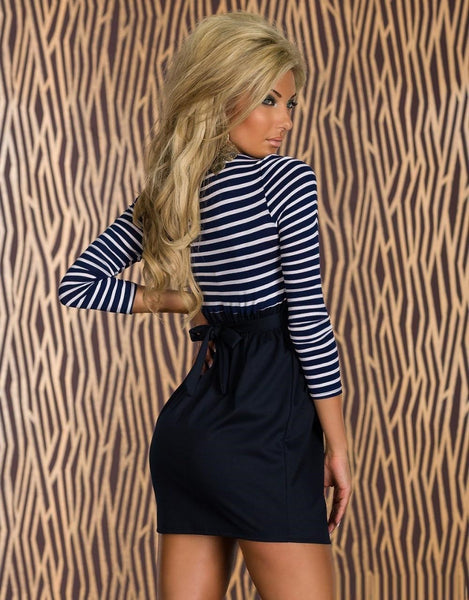 """Chic Series"" Long Sleeve Stripes Patchwork Mini Dress"