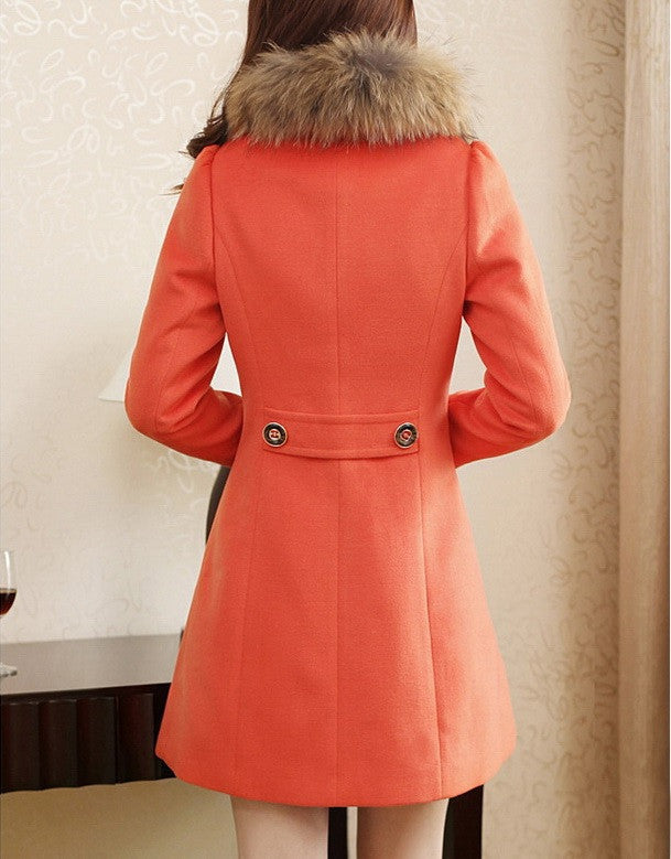 """Elegant Series"" Long Sleeves Worsted Double-Breasted Coat"