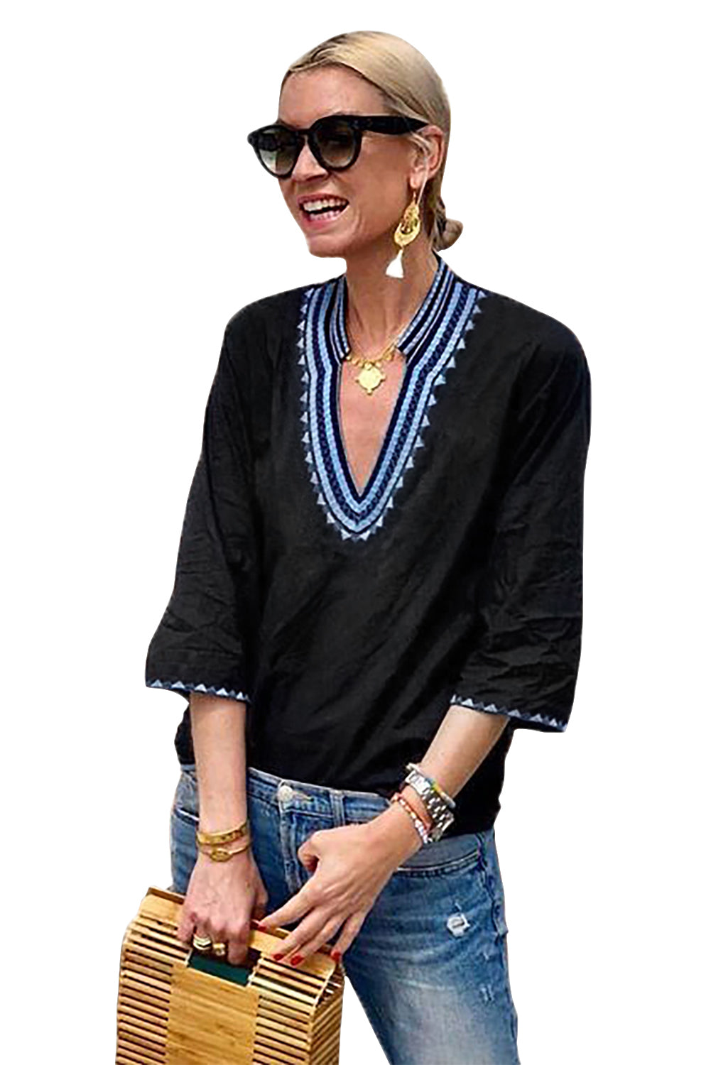 Loose Fit Her Fashion Cozy Fabric Blue Ethnic Embroidery Blouse