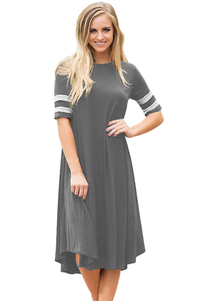 Loose Fit Striped Half Sleeves Her Fashion O Neck Grey Jersey Dress