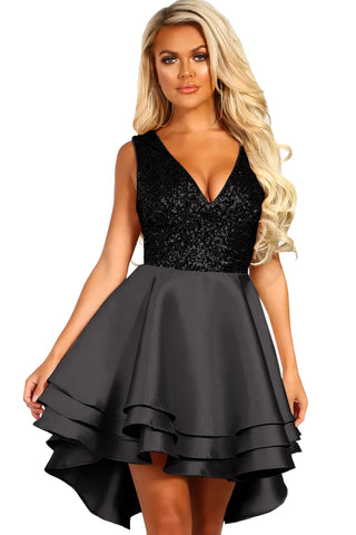 Luxe Satin Black Gold Sequin Top Her Fashion V-Neck Skater Mini Dress