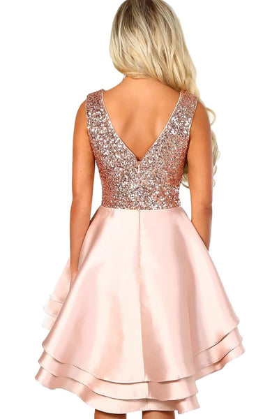Luxe Satin Pink Gold Sequin Top Her Fashion V-Neck Skater Mini Dress ... 7ff50193d