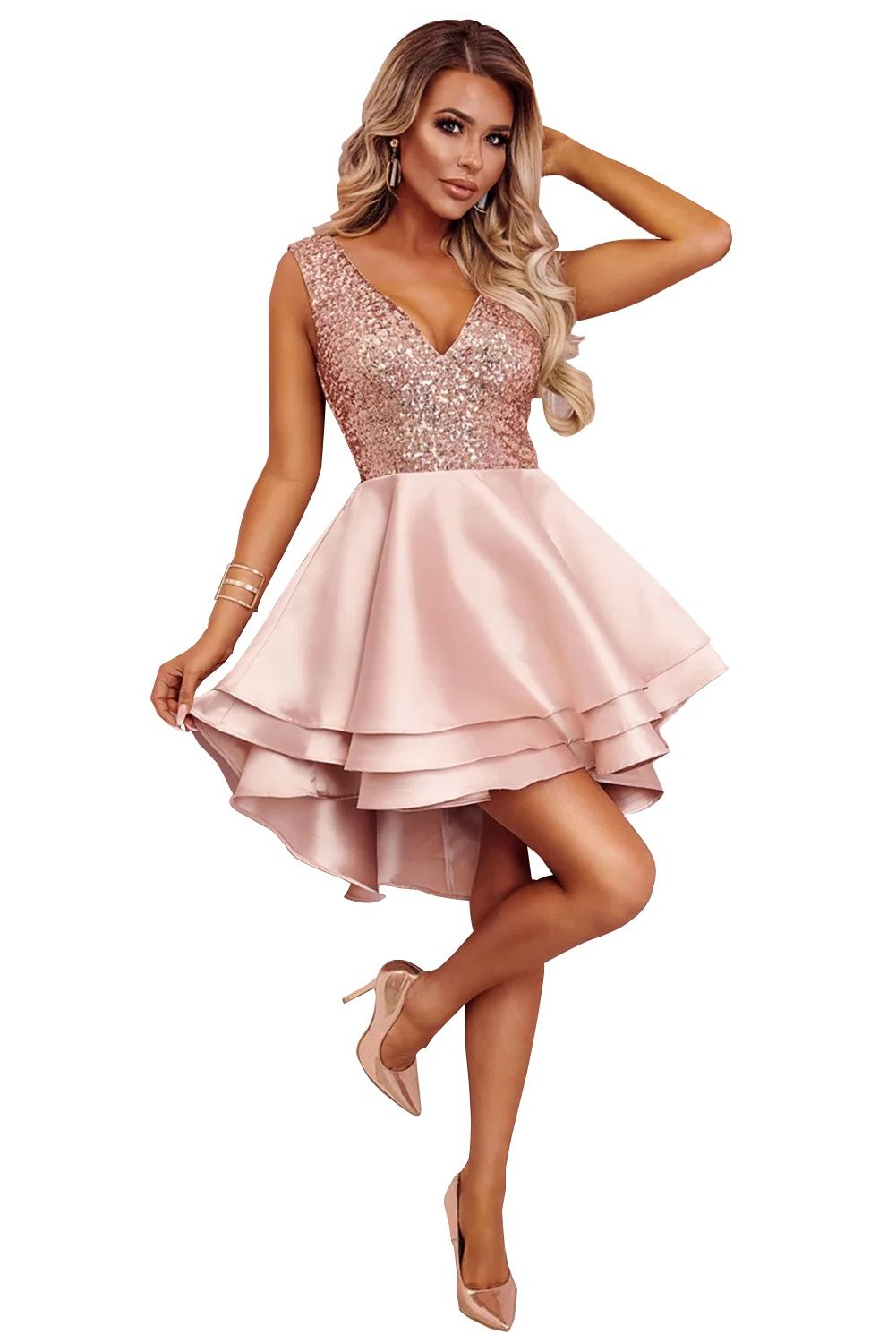 Luxe Satin Pink Gold Sequin Top Her Fashion V-Neck Skater Mini Dress