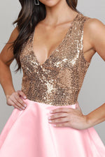 Luxe Satin Red Gold Sequin Top Her Fashion V-Neck Skater Mini Dress