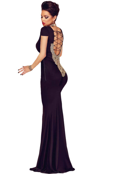 Luxurious Black Crisscross Back Tie Her Maxi Party Dress