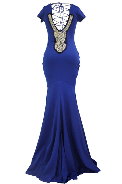Luxurious Blue Crisscross Back Tie Her Maxi Party Dress