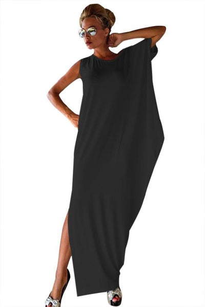 Luxurious Crochet Black Lace Back Her Fashion Oversized Kaftan Dress