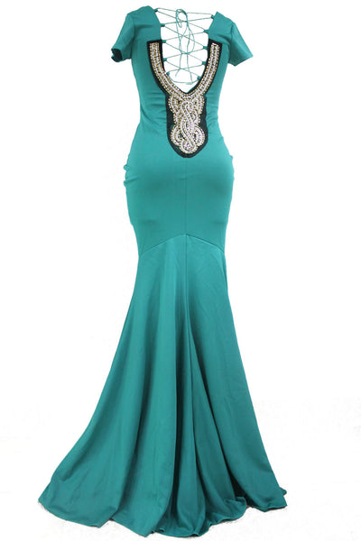 Luxurious Green Crisscross Back Tie Her Maxi Party Dress
