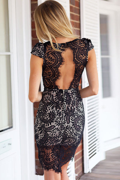 HisandHerFashion Luxury Appearance With Precious Scalloped Black Trim Lace V Neck Mini Dress