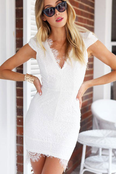 HisandHerFashion Luxury Appearance With Precious Scalloped White Trim Lace V Neck Mini Dress
