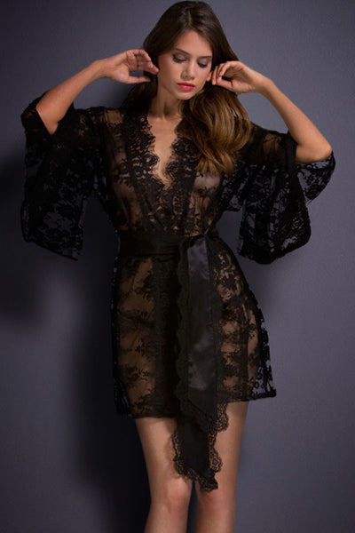 Luxury Black Belted Lace HerFashion Kimono Nightwear
