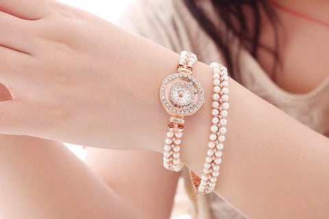 "Luxury Brand Gedi ""Pearl in Band Rose Gold Quartz"" Ladies Bracelet Watch"