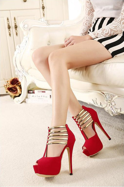 Luxury Gold Strap High Heels Shoes Impression Series