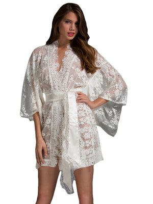 Luxury White Belted Lace HerFashion Kimono Nightwear