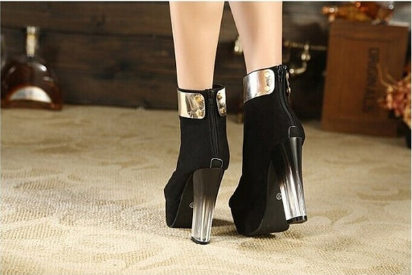 "Martin Boots 13cm High-Heeled Platform Shoes Ankle Boots Clear Plastic Decoration ""Trendy Series"""