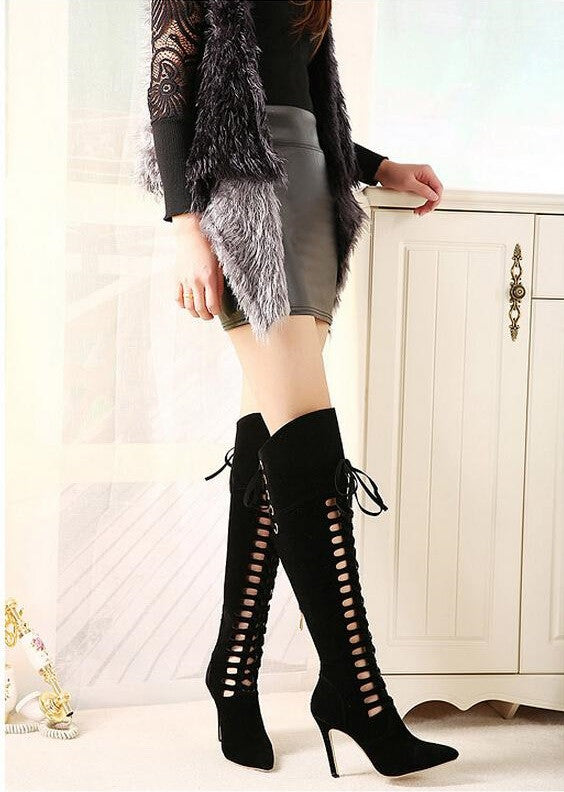 "Milan Fashion Roman Boots Big Star 11cm Pointed High-Heeled Boots ""Chic Series"""