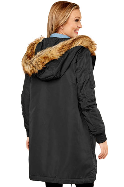 MOD BLACK FUR TRIM HOODED HER FASHION LONGLINE COAT