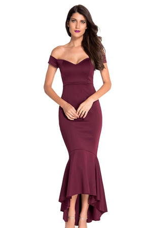 Maroon Beautiful Party Off-Shoulder Mermaid Plus Size Evening Dress